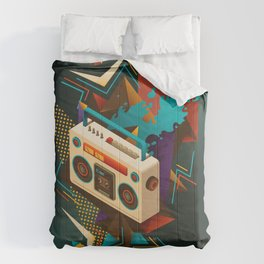 Bust Out The Jams Retro 80s Boombox Splash Comforters