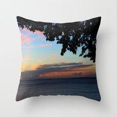 SUNSET BETWEEN TREES. Throw Pillow