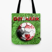 denmark Tote Bags featuring Old football (Denmark) by seb mcnulty