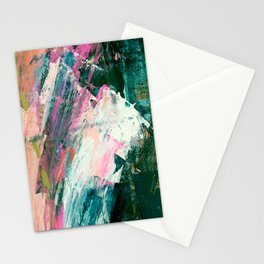 Meditate [2]: a vibrant, colorful abstract piece in bright green, teal, pink, orange, and white Stationery Cards