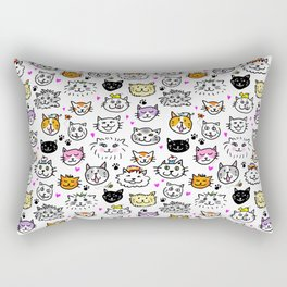 Whimsical Cat Faces Pattern Rectangular Pillow