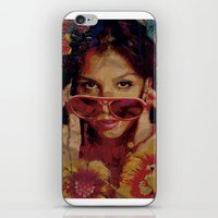 bianca green iPhone & iPod Skins featuring Bianca by Yuri Torres Bertazolli