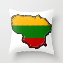 Lithuania Map with Lithuanian Flag Throw Pillow