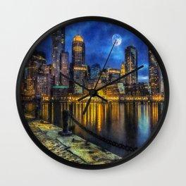 Downtown At Night Wall Clock