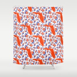 Florida University silhouette orange and blue pattern sports football college gators gator fan Shower Curtain