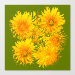 ABSTRACTED MOSS GREEN  FIRST SPRING YELLOW DANDELIONS Canvas Print