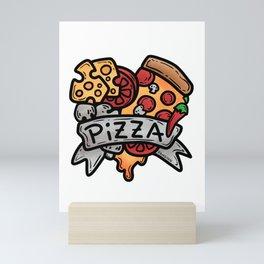 Heart Pizza Love Italy Salami cheese gift Mini Art Print