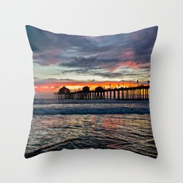 Huntington Beach Sunset  1/26/14 Throw Pillow