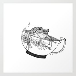 Pacific Northwest Tree Frog Riding in a China Teacup Art Print