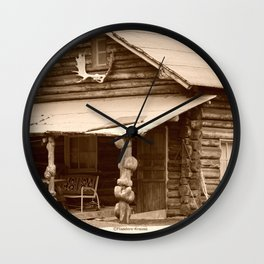Old Log Cabin Wall Clock