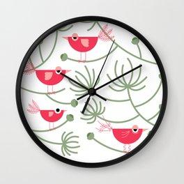 Resting Birdies - Pink Wall Clock