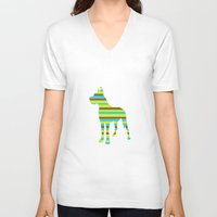 great dane V-neck T-shirts featuring Great Dane Stripes by Whimsy Notions Designs