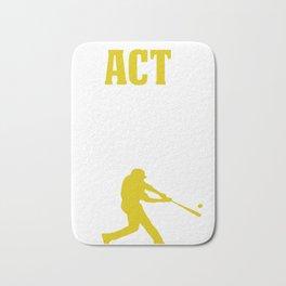 Baseball Batter Design PrACTice Like A Champion Gold Catcher 2 Bath Mat