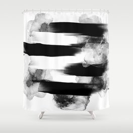 BLACK AND WHITE HEADSPACE Shower Curtain