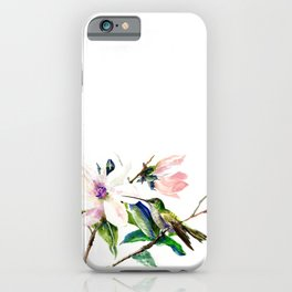 Hummingbird and Magnolia Flowers, Green Soft Pink floral design vintage style iPhone Case