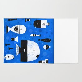 BLACK & WHITE FISHES Rug