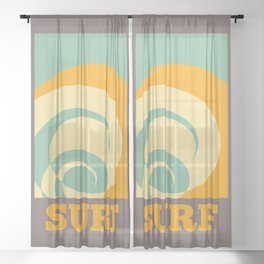 Surf Abstract Wave Sheer Curtain