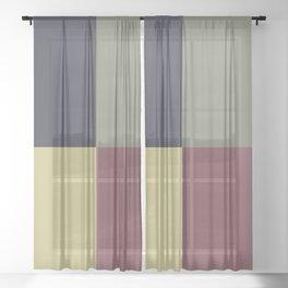 Yellow Green Blue Red Geometric Minimal Design Sheer Curtain