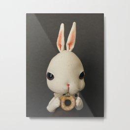 Mr Bunny loves donut Metal Print