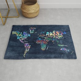 world map typography watercolor 4 Rug