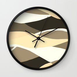 Beige Brown and Taupe Abstract Wall Clock