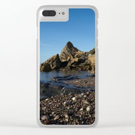 Meadfoot Beach Huts And Imposing Cliffs Clear iPhone Case