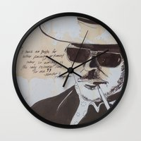 hunter s thompson Wall Clocks featuring Hunter S. Thompson by Emily Storvold