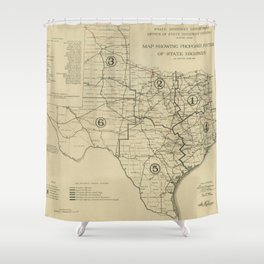 Vintage Texas Highway Map (1917) Shower Curtain