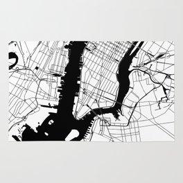 New York City White on Black Rug