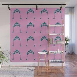 pink flower teal hat Wall Mural