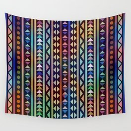 Colorful Tribal Stripes and triangles Pattern Wall Tapestry
