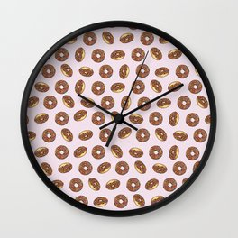 Chocolate Donuts on Pink Wall Clock