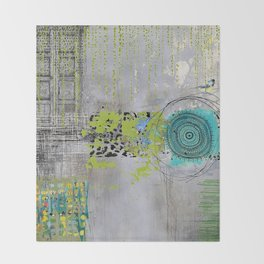Teal & Lime Round Abstract Art Collage Throw Blanket