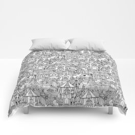retro circus black white Comforters