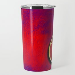 Gold cross in red egg hanging against a rich red and purple Travel Mug