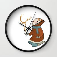 antler Wall Clocks featuring Antler by breakfastjones