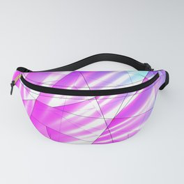 Bright sky fragments of crystals on irregularly shaped purple and blue triangles. Fanny Pack