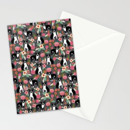 Boston Terrier floral dog breed pet art must have boston terriers gifts Stationery Cards