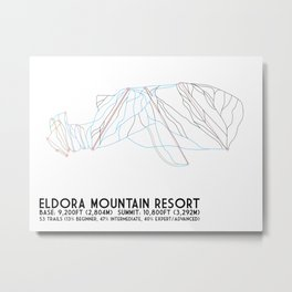 Eldora Mountain Resort, CO - Minimalist Trail Art Metal Print