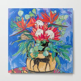 Tropical Protea Bouquet with Toucans in Greek Horse Urn on Ultramarine Blue Metal Print