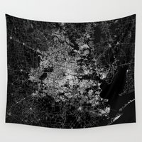 houston Wall Tapestries featuring Houston map by Line Line Lines