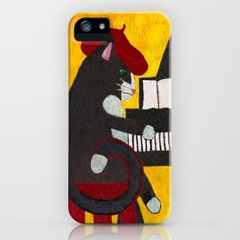 Tuxedo Cat Playing a Piano iPhone Case