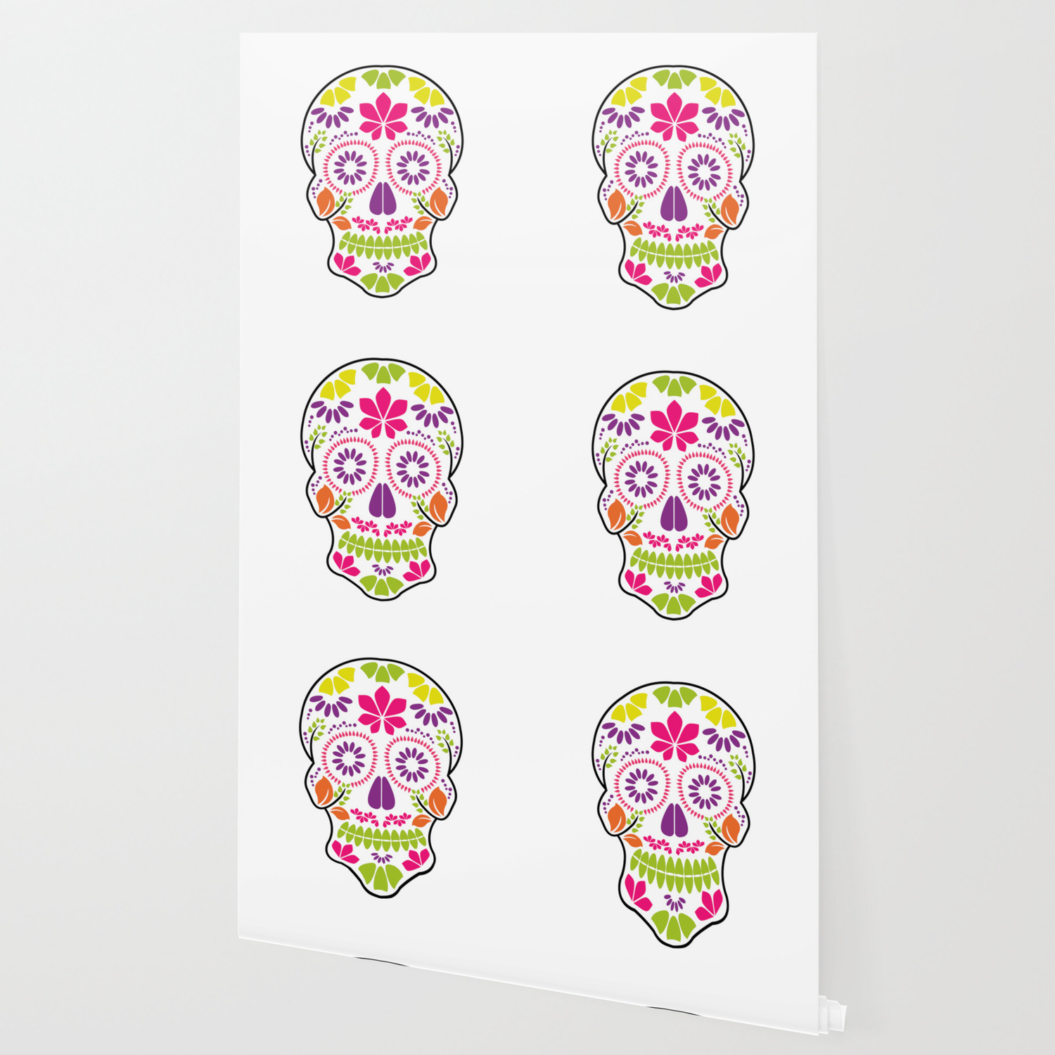 Calavera Sugar Skull Day Of The Dead Floral Skull Wallpaper By
