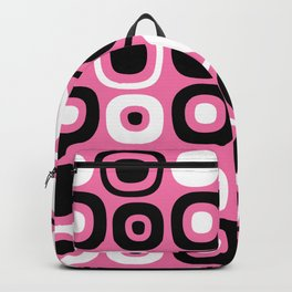 Mid Century Modern Garden Path Pattern 384 Pink and Black Backpack