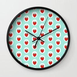 Strawberry fruit tropical mint nature food fresh pattern design geometric berries children farming  Wall Clock