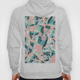 Modern pastel pink coral mint floral cut out illustration pattern Hoody