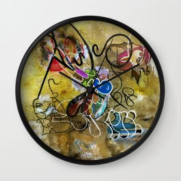 Mexicans vs Jews (oil on canvas) Wall Clock