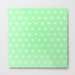 Pastel Green Flowers and Florals Isosceles Triangle Metal Print