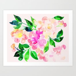 Watercolor spring floral pattern Art Print