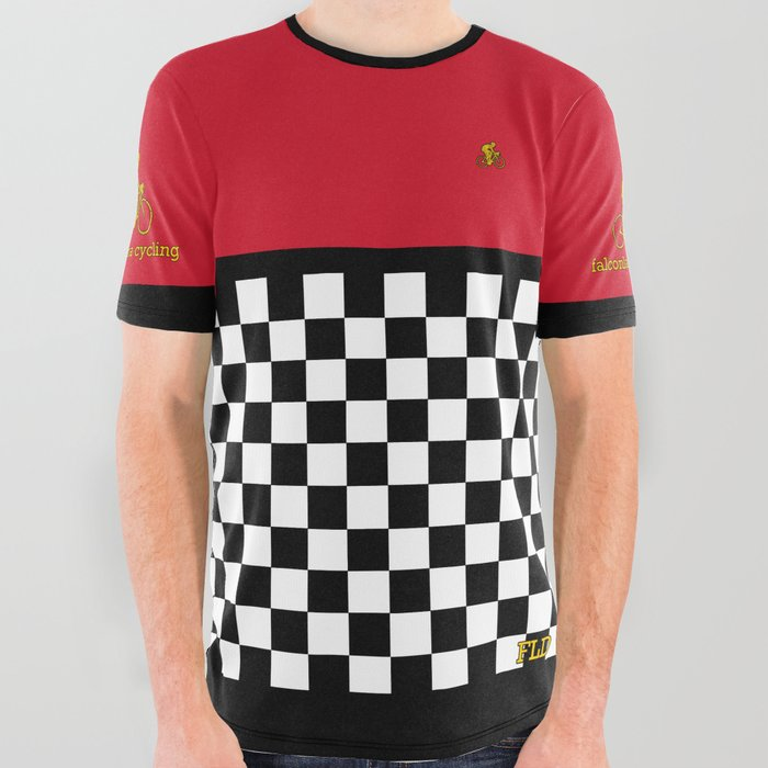 FLD Cycling Red Checkered All Over Graphic Tee